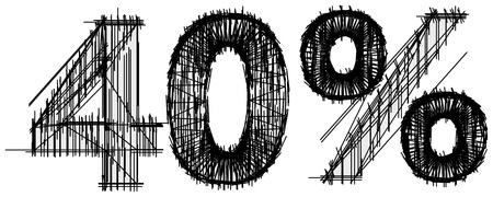 40: Sketch of 40 percent over white background Illustration