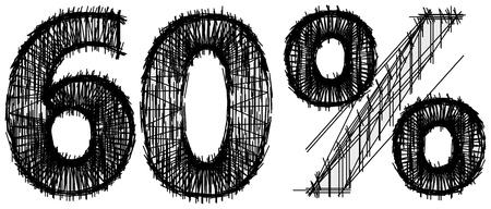 Sketch of 60 percent over white background Illustration