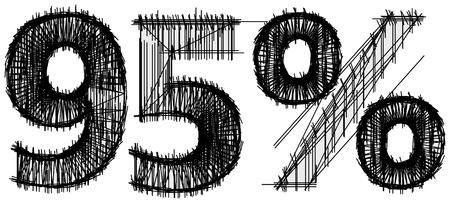 Sketch von 95 Prozent auf weißem Hintergrund Standard-Bild - 15888840