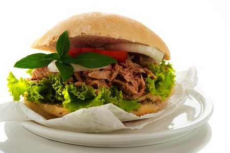 Fresh bun with vegetables and tuna photo