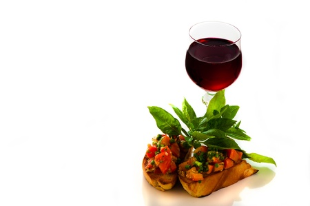 delicious bruschetta appetizer on white background photo