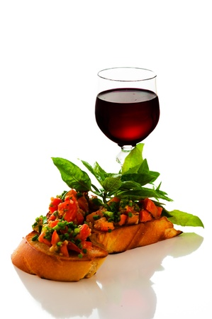 bruschetta: delicious bruschetta appetizer on white background
