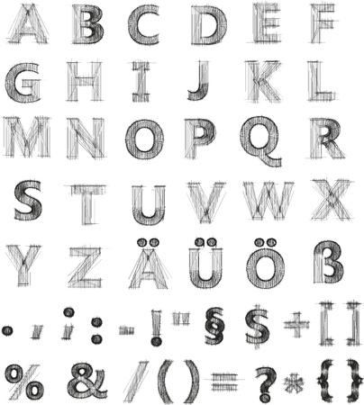 abecedario graffiti: Vector ilustraci�n de un juego de caracteres en negro sobre fondo blanco
