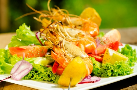 Fresh grilled shrimps on a plate with vegetable and a garden as background photo