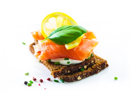 Sandwich with cream cheese and smoked salmon Stock Photo