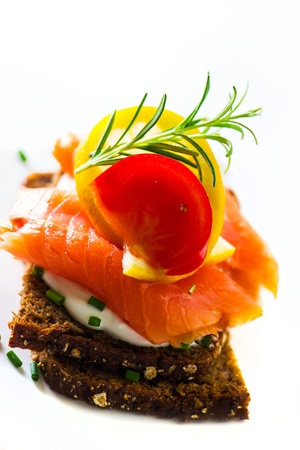 Sandwich with cream cheese and smoked salmon photo