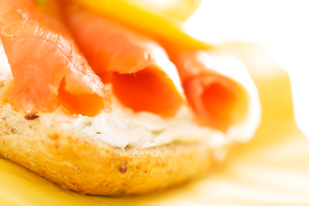 Sandwich with smoked salmon and soft cheese photo