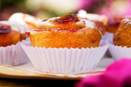 small cake with strawberry jam on white plate Stock Photo - 24512659