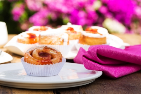 small cake with strawberry jam on white plate Stock Photo - 24512680