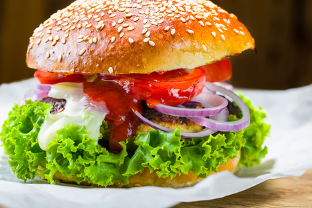 chicken burger: one chicken burger with lettuce tomato ketchup mayonnaise and red onion