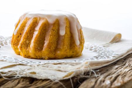 Fluffed flower cake glazed with honey and vanilla photo