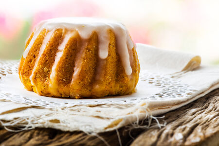 spongy: Spongy flower cake topped with heavy melted sugar Stock Photo