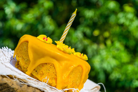Birthday cake and candle for one year old. glazed with yellow icing sugar photo