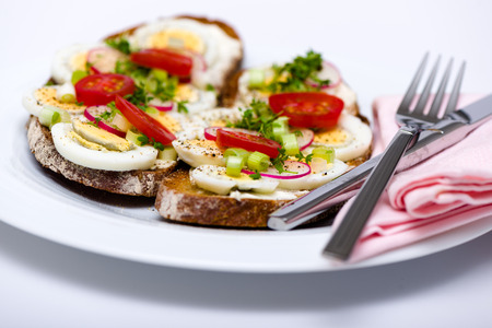 healthy snack: Healthy snack - wholemeal bread with egg tomatos and fresh cress and radishes