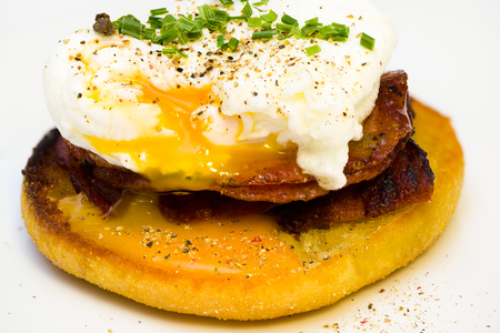 benedict: Eggs Benedict on toasted muffins with bacon and sauce