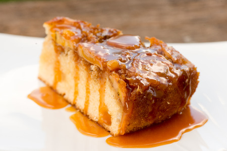 Upside down banana cake with coconut and caramel Stock Photo
