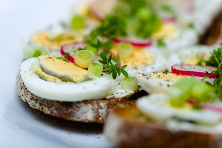 healthy snack: Healthy snack - wholemeal bread with egg and fresh cress and radishes