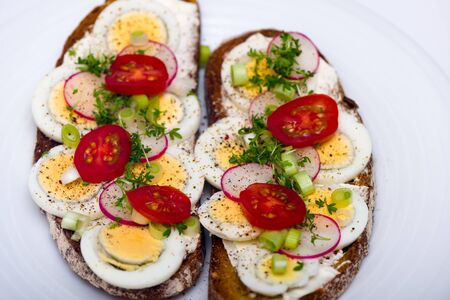 cress: Healthy snack - wholemeal bread with egg tomatos and fresh cress and radishes