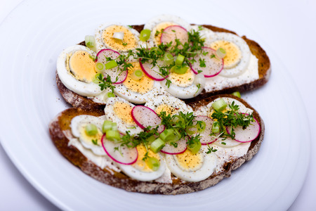 Healthy snack - wholemeal bread with egg and fresh cress and radishes