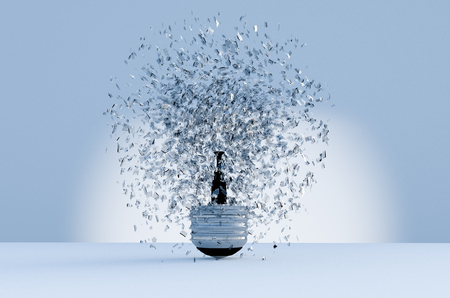 electric bulb: 3d image of electric bulb explosion background Stock Photo