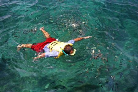 A man is Snorkeling in Tropical Lagoon Stock Photo - 7542273