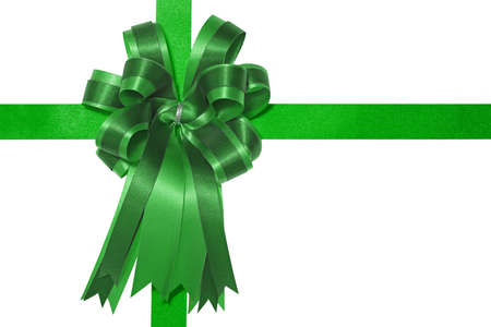 Green satin gift bow photo