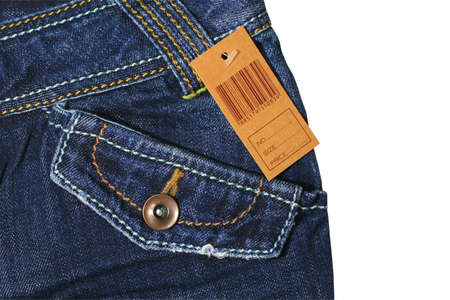 Blue jeans with brown label Stock Photo