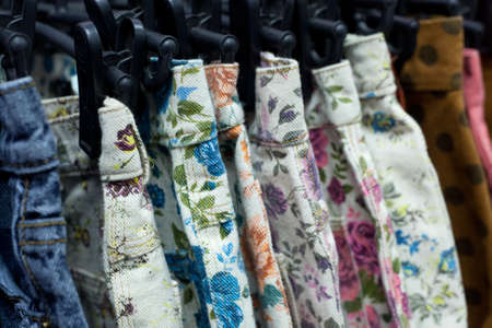 Row of hanged floral Print Short Stock Photo