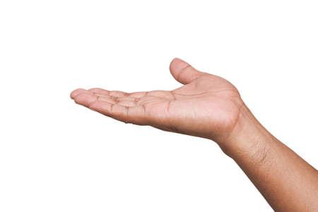 limosna: Mano abierta vacía aislado sobre fondo blanco