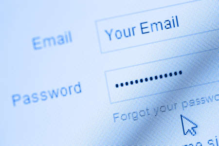 Login with email and password on computer screen Stock Photo - 15843749