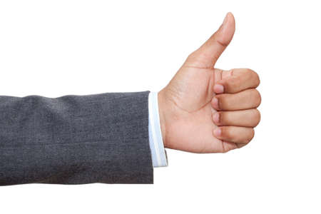 Hand of business man with thumb up Stock Photo - 17927634