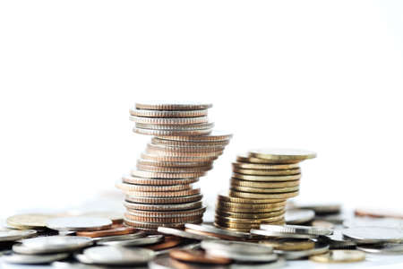 indigence: Stack of coins Stock Photo