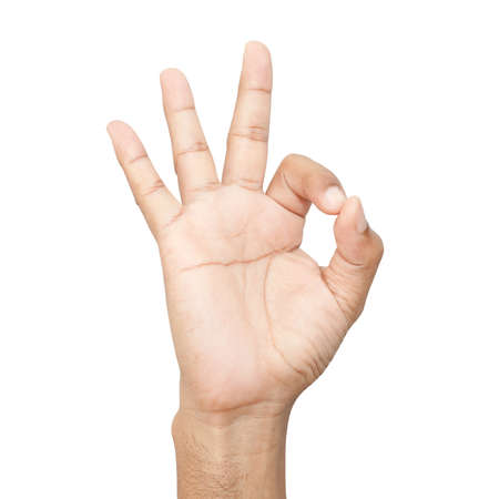 Hand OK sign on white background Stock Photo - 19843422