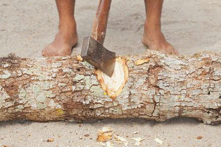 ax man: Man splitting wood with an ax