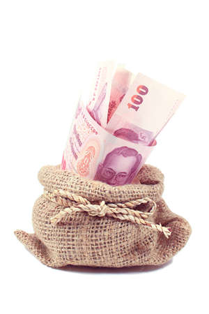 Thai money in the bag on white Stock Photo