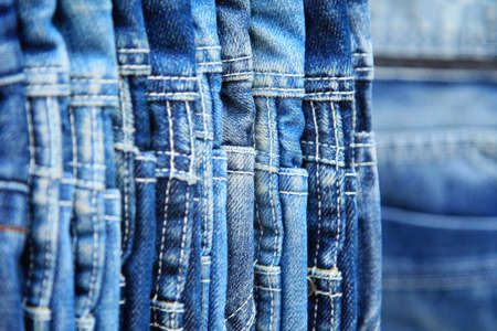 hanged: Row of hanged blue jeans