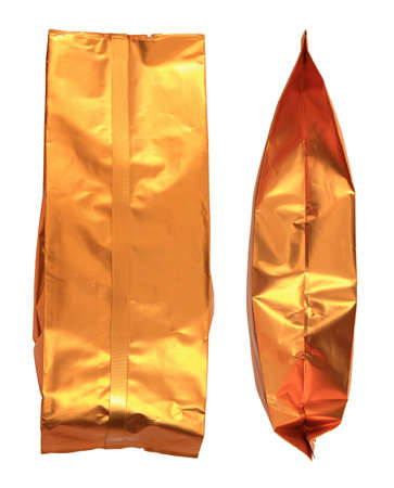 bagged: Gold bag of coffee Stock Photo