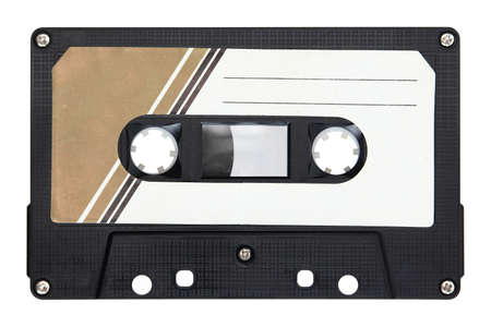 Black audio cassette isolated on background