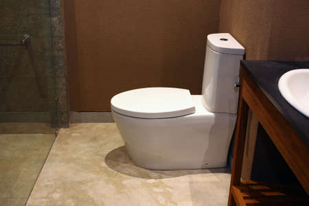 View of porcelain toilet in Hotel Stock Photo
