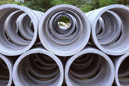 View of concrete tubes Stock Photo
