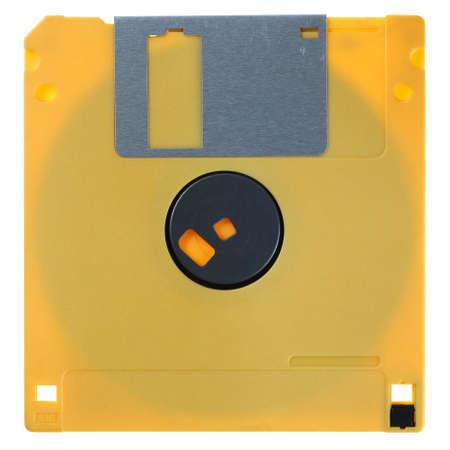 Yellow floppy disk isolated on white