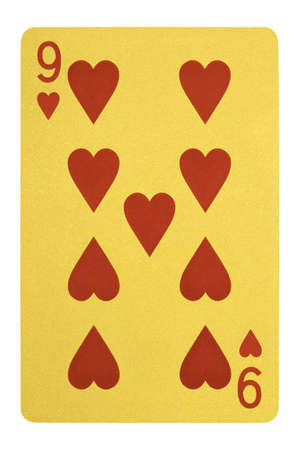 Golden playing cards, Nine of hearts Stock Photo
