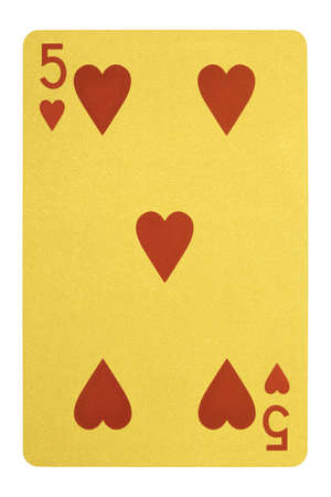 Golden playing cards, Five of hearts