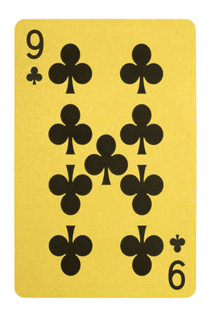 Golden playing cards, Nice of clubs Stock Photo