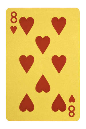 Golden playing cards, Eight of hearts Stock Photo