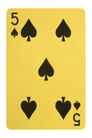 Golden playing cards, Five of spades Stock Photo