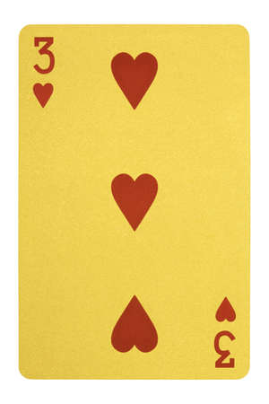 Golden playing cards, Three of hearts Stock Photo