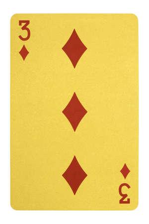 Golden playing cards, Three of diamonds Stock Photo
