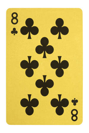 Golden playing cards, Eight of clubs Stock Photo