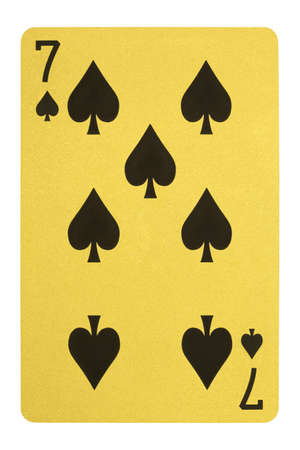 Golden playing cards, Seven of spades Stock Photo